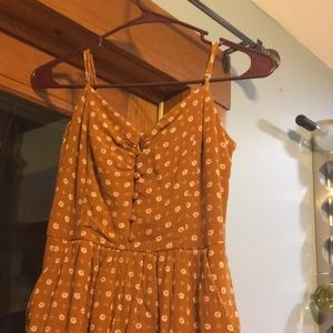 Brown Spaghetti Strap Romper With Pockets
